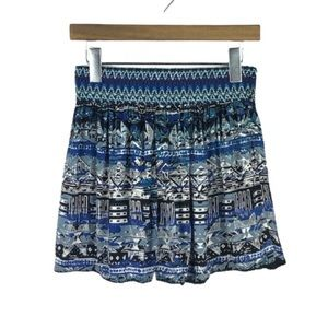 ANTHRO | Angie Black & Blue Tribal Print Shorts